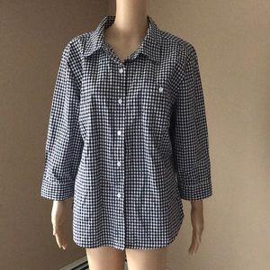 Karen Scott black white plaid cotton blouse Sz XL